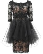 Marchesa Embroidered Lace Tulle Dress - Lyst