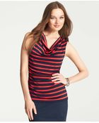 Ann Taylor Striped Ruched Cowl Neck Sleeveless Top - Lyst