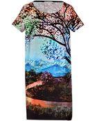 Mary Katrantzou Silk Printed Shift Dress In Fauwi - Lyst