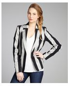 Alice + Olivia Midnight And Grey Striped Cotton Blend 'Elyse' Blazer - Lyst