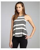 DV by Dolce Vita Black and White Striped Jersey Knit Highneck Lula Tank Top - Lyst
