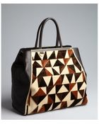 Fendi Brown and Beige Leather and Suede 2jours Large Triangle Detail Tote - Lyst