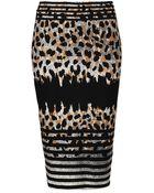 Topshop Striped Animal Print Tube Skirt - Lyst