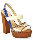Kate Spade Izzy Cobalt and Cream Platform Sandal - Lyst