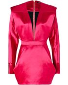 Balmain Wool silk Structural Dress in Fuchsia - Lyst