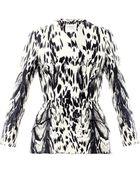 Giambattista Valli Couture Abstract Lynx Print Silk Peplum Jacket - Lyst