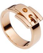 Michael Kors Rose Goldtone Buckle Ring - Lyst