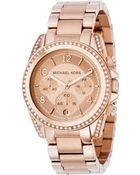 Michael Kors Womens Chronograph Blair Rose Goldtone Stainless Steel Bracelet 41mm - Lyst