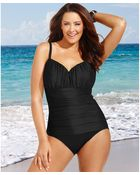 Miraclesuit Plus Size Rialto Ruched One-Piece Swimsuit - Lyst