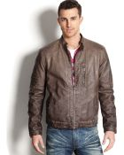 Kenneth Cole Faux Leather Moto Jacket - Lyst