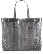 Bottega Veneta Python Top Handle Bag - Lyst