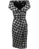 Michael Kors Metallic Dogtooth Collar Dress - Lyst