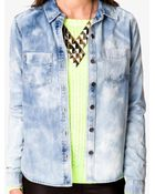 Forever 21 Fitted Bleached Denim Shirt - Lyst