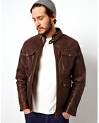 Asos Leather Jacket Zip Biker Quilted Lining - Lyst