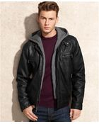 Calvin Klein Hooded Faux Leather Jacket - Lyst