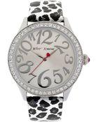 Betsey Johnson Ladies Leopard Round Silver Glitz Watch - Lyst