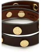 Tory Burch Double Wrap Logo Leather Bracelet - Brown - Lyst