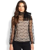 RED Valentino Bow-Neck Sheer Lace Blouse - Lyst