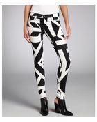 J Brand Black and White Printed Stretch Denim Midrise Super Skinny Jeans - Lyst