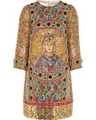 Dolce & Gabbana Embellished Woolblend Mini Dress - Lyst