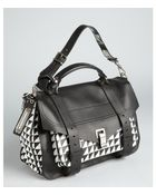 Proenza Schouler Black And White Houndstooth Leather Medium 'Ps 1' Convertible Shoulder Bag - Lyst