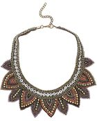 Topshop Fabric Leaf Bead Necklace - Lyst