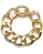 Kenneth Jay Lane Gold And Rhinestone Chain Bracelet - Lyst