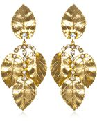 Kenneth Jay Lane Large Gold and Crystal Leaf Earrings - Lyst