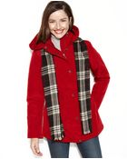 London Fog Hooded Puffer Anorak with Plaid Scarf - Lyst