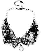 Betsey Johnson Blackplated Crystal and Faux Pearl Bow Mesh Frontal Necklace - Lyst