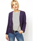 Asos Blazer In Boucle With Pu Pockets - Lyst