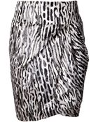 Giambattista Valli Zebra Print Draped Skirt - Lyst