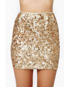 Nasty Gal Rare London Gold Crush Sequin Skirt - Lyst