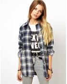 Asos Reclaimed Vintage Look Bleached Check Shirt - Lyst