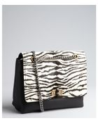 Lanvin Black Zebra Printed Pony Hair And Leather Medium 'Happy' Shoulder Bag - Lyst