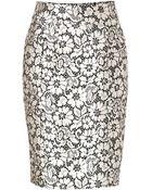 Burberry London Silk Blend Skirt In Black/White Lace Optic - Lyst