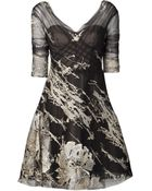 Monique Lhuillier Tulle Embroidered Dress - Lyst