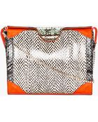Carven Coral Snakeskin Shoulder Bag - Lyst