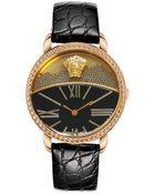 Versace Dualdial Leatherstrap Watch Blackrose Golden - Lyst