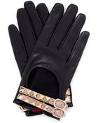 Valentino Bucklestrap Studded Leather Gloves - Lyst
