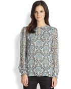 Tory Burch July Floralprint Silk Blouse - Lyst