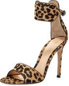Gianvito Rossi Leopardprint Calf Hair Anklewrap Sandal - Lyst