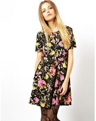 Asos Reclaimed Vintage Smock Dress in Bright Floral - Lyst