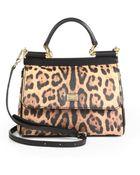 Dolce & Gabbana Mini Miss Sicily Leopard-Print Satchel - Lyst
