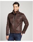 Calvin Klein Chocolate Brown Faux Shearling Faux Leather Zip Front Jacket - Lyst