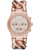 Michael Kors Runway Twist Rose Goldtone Stainless Steel & PavÉ Crystal Chronograph Bracelet Watch - Lyst