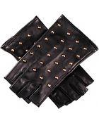 Black.co.uk Studded Fingerless Leather Gloves- Silk Lined - Lyst