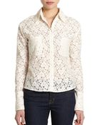 Love Sam Lace Cropped Button-front Top - Lyst