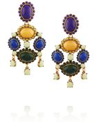 Oscar de la Renta Gold-Plated Cabochon Clip Earrings - Lyst