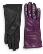 Portolano Twotone Crocembossed Leather Gloves - Lyst